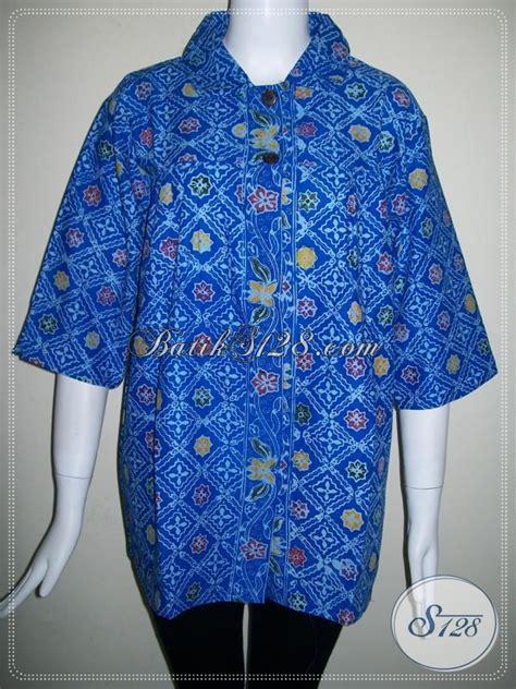 Terlaris Kemeja Batik Godong Biru batik warna biru trend tahun 2104 blus wanita batik ukuran
