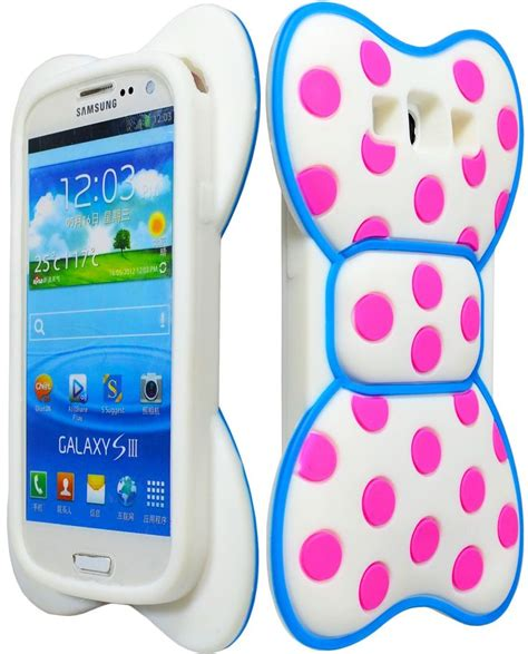 cute 3d bowknot blue frame pink dot back protector case