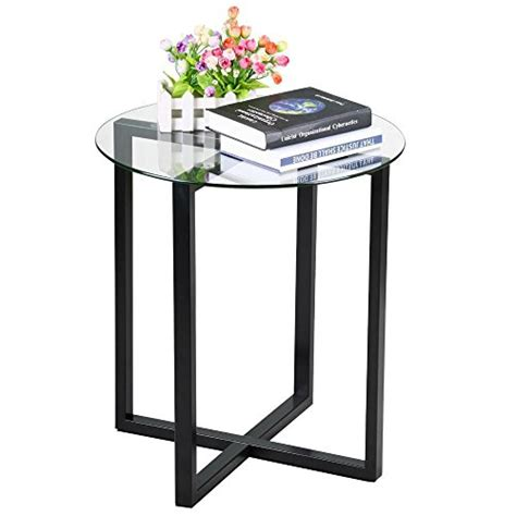 small glass accent table yaheetech round glass top sofa side end table small spaces