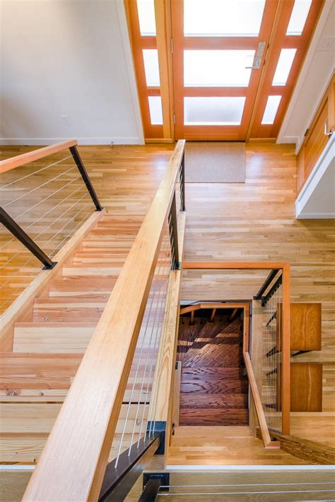 asian stairwell  cable railing hgtv