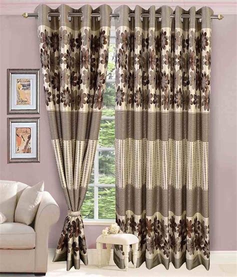 brown and silver curtains vorhang single door eyelet curtain floral brown silver