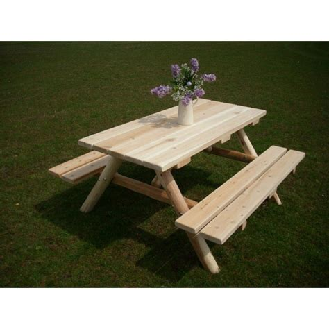 white cedar log picnic table with attached benches 4 5 6 8