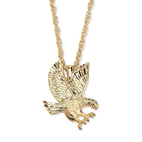 s yellow gold tone eagle pendant rope chain necklace