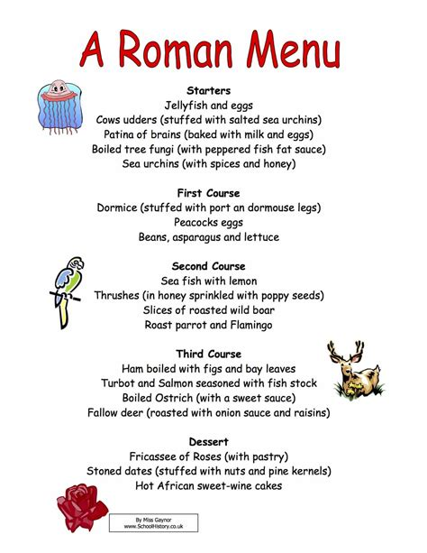 design a menu ks2 a roman menu sle free year 7 pdf worksheet