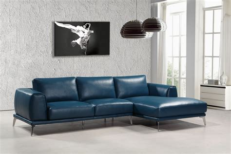 Modern Sectional by Divani Casa Drancy Modern Blue Bonded Leather Sectional Sofa