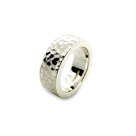 sterling silver hammered ring by will bishop jewellery