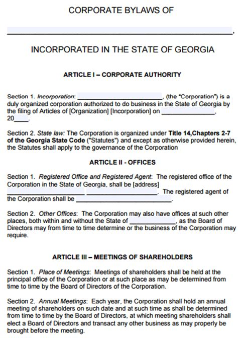 free georgia corporate bylaws template pdf word