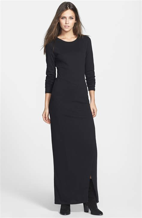 Knit Maxi Dress leith sleeve knit maxi dress in black lyst