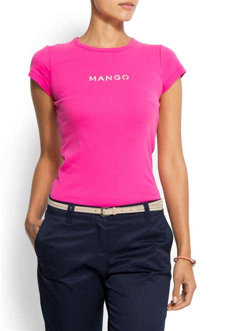 Mango Tshirt lyst mango logo tshirt in pink