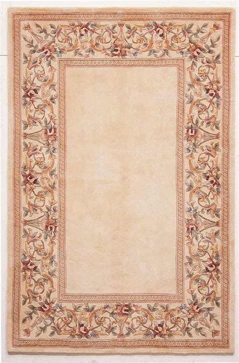Ruby Rugs by Ruby 8928 Ivory Ivory Floral Border Area Rug By Kas