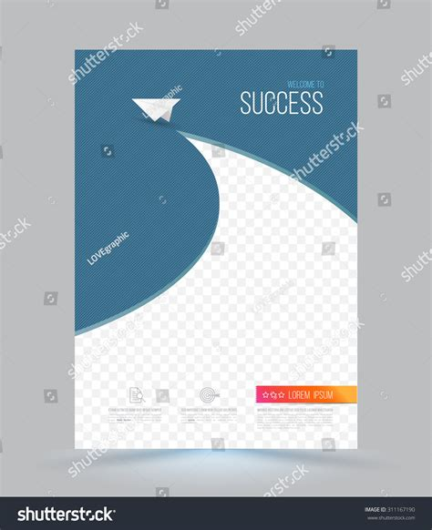 layout of cover page of a report cover page layout template paper airplane stock vector