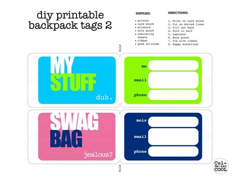 Luggage Tag Template Cyberuse Bag Tag Template