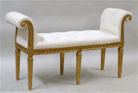 upholstered window bench carved giltwood and upholstered window bench 1677261