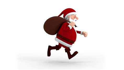 cartoon santa claus walking   screen  smiling  camera high quality