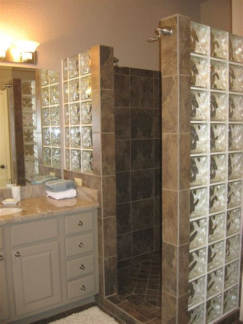 Showers Without Glass Doors Custom Walk In Shower With No Door And Glass Block For Light Bath