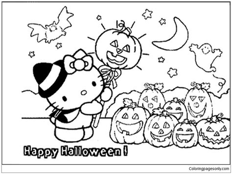hello kitty halloween coloring page free coloring pages