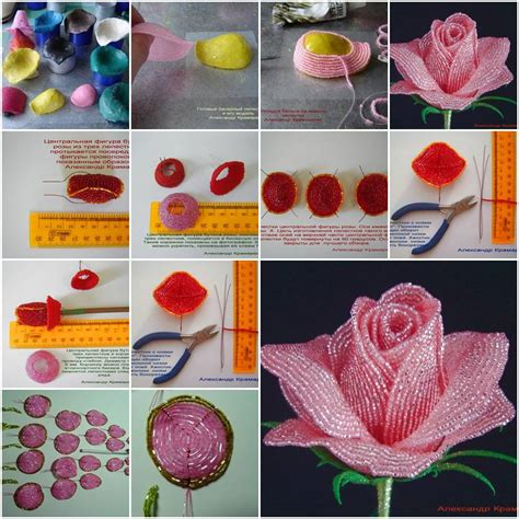 free patterns and instruction on making flower hair clips how to make french beaded rose step by step diy tutorial