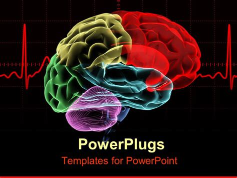 Powerpoint Template Multicolored X Ray Human Brain With A Red Heart Rate Related To Cranium Psychology Presentation Template