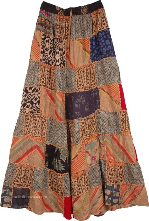 ethnic embroidery brown patchwork skirt clothing sale ethnic embroidery brown patchwork skirt clothing sale