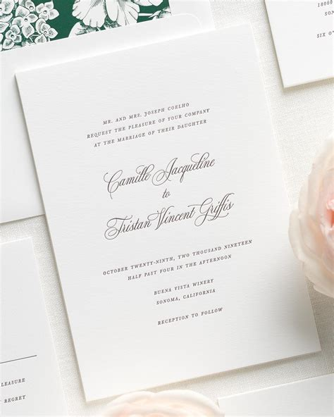 Wedding Invitations Letterpress by Camille Letterpress Wedding Invitations Letterpress