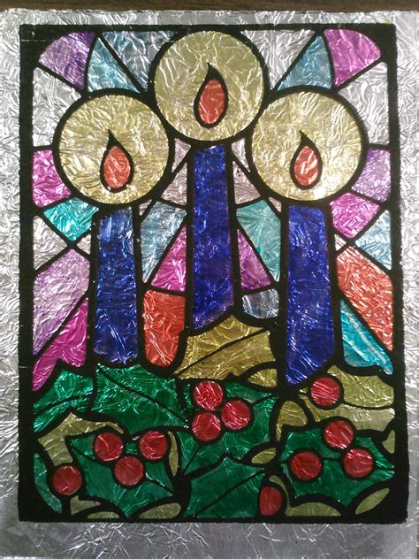 christmas stained glass window patterns for kids
