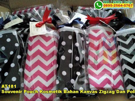 Harga Kosmetik Polka souvenir pouch kosmetik bahan kanvas zigzag dan polkadot