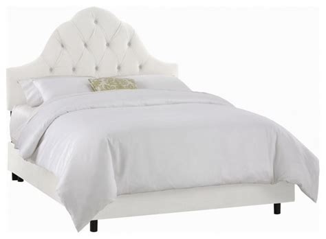 White Backboard For Bed Skyline Furniture Arch Tufted Bed Velvet White