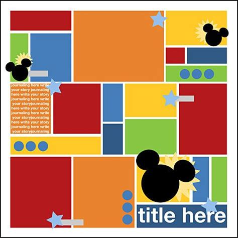 Cute Layout And Freebie Template Sarahorton Mouseblockspv Copy Disney Scrapbooking How To Make A Digital Scrapbook Template