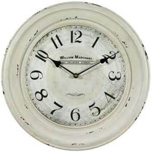white clock thermometer  iron wall clock in distressed white frame clkab the home depot