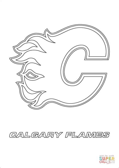 Calgary Flames Coloring Pages calgary flames logo coloring page free printable coloring pages