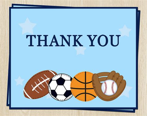 printable thank you cards sports sports thank you cards birthday baby shower by