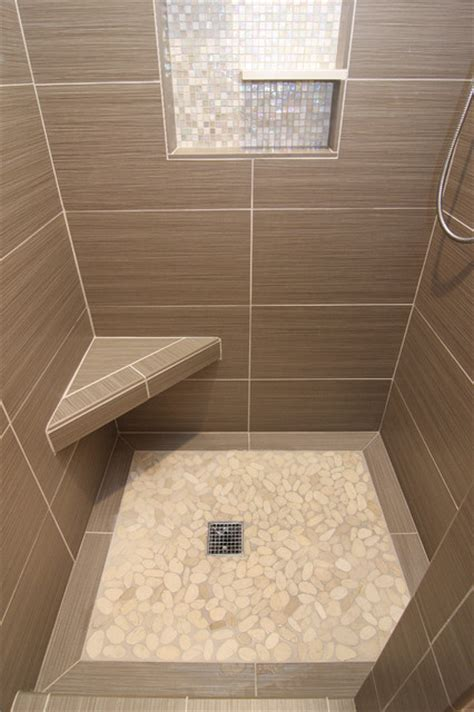 Bathroom Artwork Ideas by Shower With Gray Tile Bench And Beachstone Floor Modern