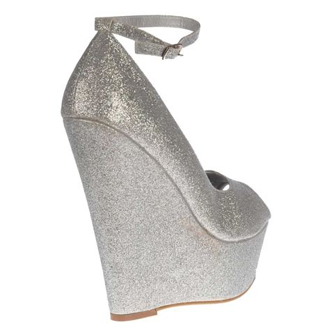shoekandi silver wedge glitter peep toe platform shoes