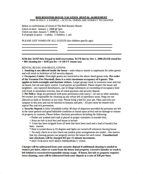 8 Vacation Rental Agreements Free Sle Exle Format Cottage Rental Agreement Template