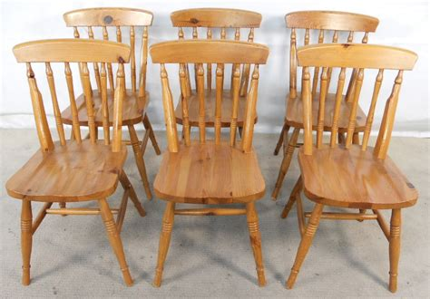 set of six antique style pine kitchen dining