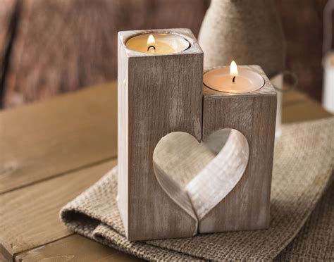 holz kerzenhalter wooden candle holders rustic candle holder wood hearts