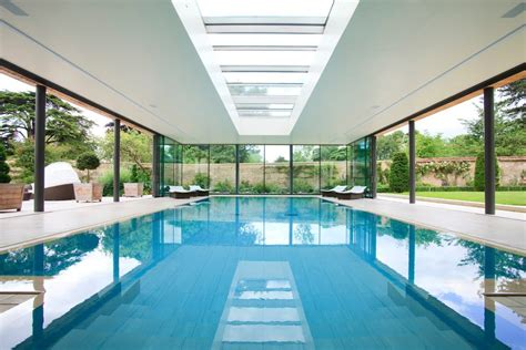 indoor basement pool pool contemporary with skylights