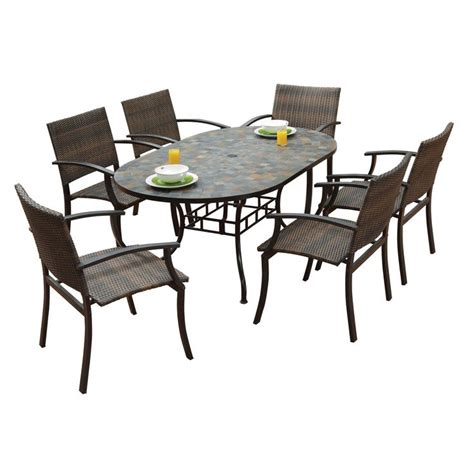 Overstock Patio Dining Sets Harbor Oval Dining Table And Newport Arm Chairs 7 Outdoor