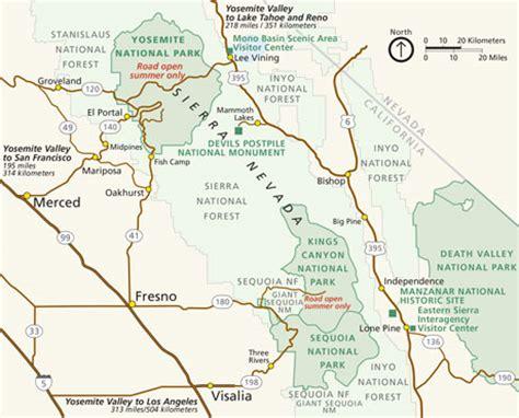 map of yosemite area sleeping yosemite national park u s national