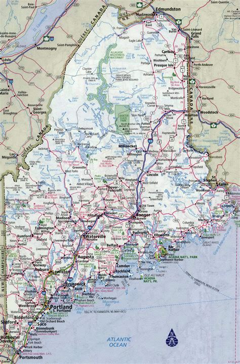 maine on map large detailed roads and highways map of maine state with