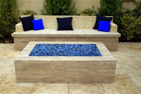 built in firepit pit with built in seating