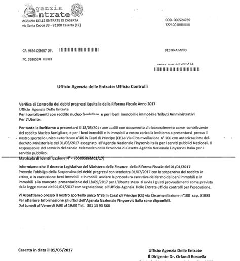 lettere agenzia delle entrate casal di principe false lettere dell agenzia delle