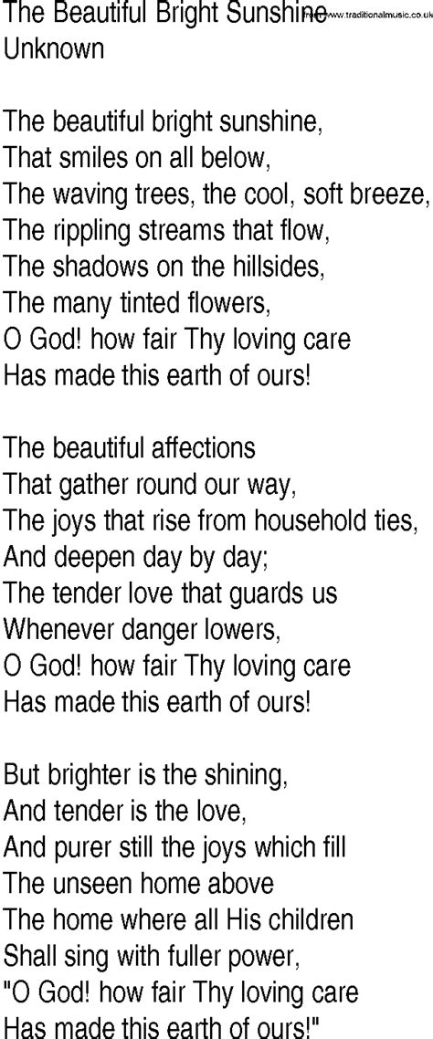 unknown lyrics hymn and gospel song lyrics for the beautiful bright
