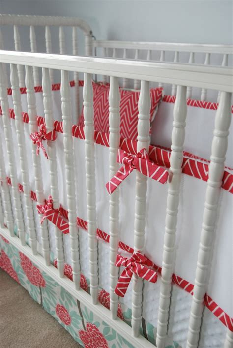 custom breathable mesh bumper and crib skirt in beautiful