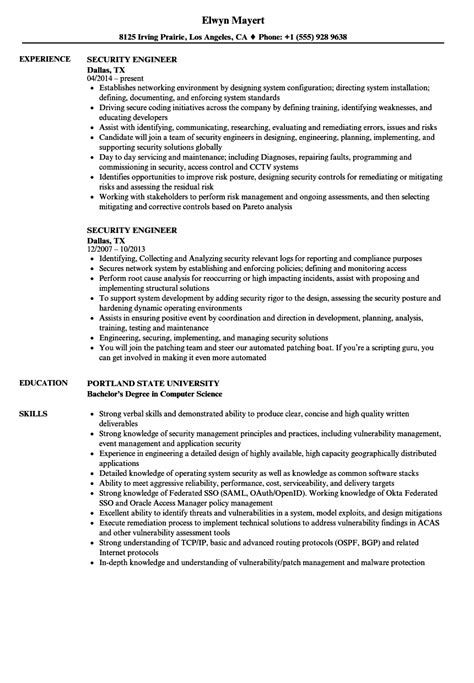 Security Engineer Resume by Security Engineer Resume Sles Velvet
