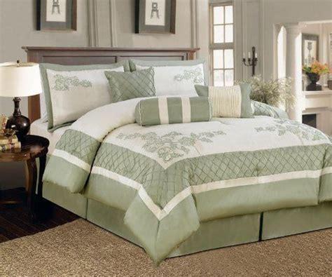 kinglinen queen comforter sets 7 piece queen nina embroidered comforter set sage by