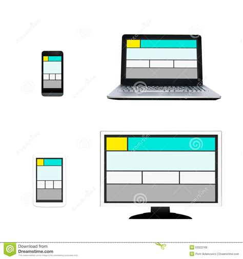 different layout in web design responsive web design layout on different devices stock