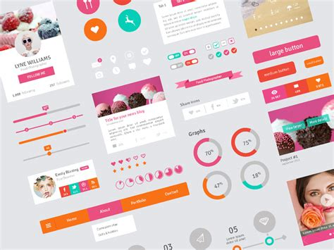 flat design ui elements freebie flat design user interface elements by marie