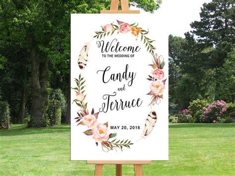 printable wedding welcome sign bohemian wedding sign