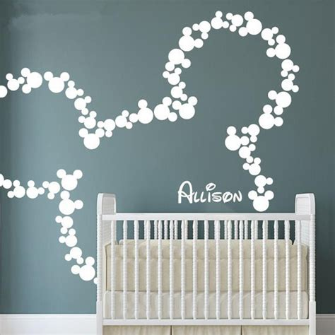 Sticker Wallpaper Dinding Minnie Mickey Hitam mickey mouse wall stickers personalized baby name minnie
